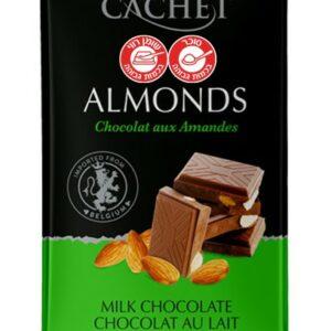 טבלת שוקולד חלב עם שקדים CACHET