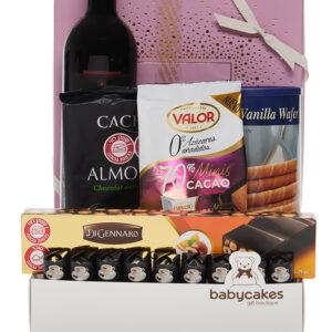 מארז שוקולד CACHET עם יין אדום
