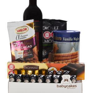 מארז שוקולד מריר CACHET עם יין אדום